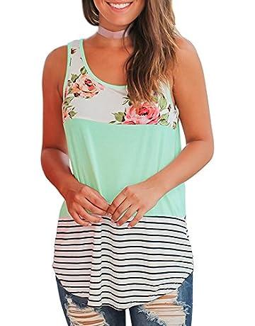 db777a705a4 WFTBDREAM Women s Summer Sleeveless Floral Print Casual Tank Tops Shirts
