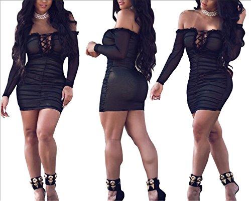 Jaycargogo Femmes Amincissent Maille En Forme De Tulle Lacets De Robe Sexy Épaule Noire