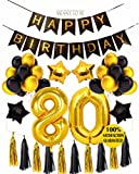 80th Birthday Decoration, 80th BIRTHDAY PARTY DECORATIONS KIT - Happy Birthday Black Banner, 80th Gold Number Balloons, Gold and Black, Number 80, Perfect 80 Years Old Party Supplies (Wall Decoration)