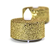 Koyal Wholesale Gold Glitter Flameless Tealight Candles, 24-Pack