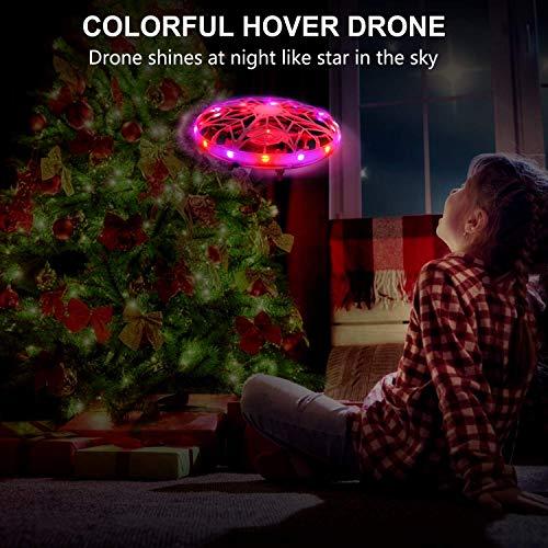 UTTORA Mini Drone pour Enfants,Jouet Volant à Induction Infrarouge Rotatif à 360 ° avec lumières LED Jouet Volant intérieur extérieur Rechargeable pour garçons et Filles