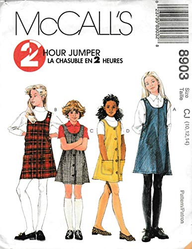 McCall's Sewing Pattern M8903 8903 Girls Size 10-14 2-Hour Button Side Front Jumpers