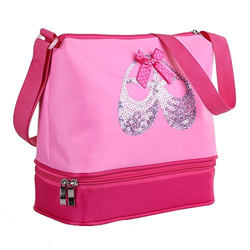 Pink Princess Ballet Dance Tote Bags for Little Girls Ballerina Kid Teen Dancer with Double Layer Compartment and Adjustable Strap for Tutu Dress Shoes Towel Slippers ()