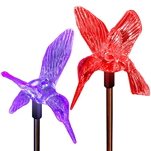 Solar Hummingbirds Garden Decor Stake Lights Color