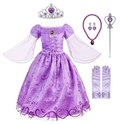 (Okidokiyo Little Girls Princess Rapunzel Costume Mesh Sleeve Party Dress (Purple with Accessories,)