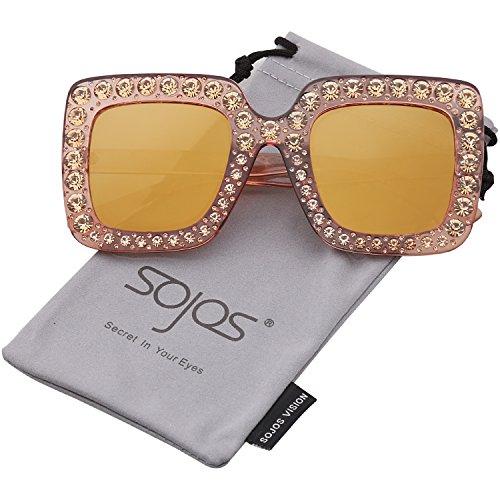 Gafas Dorado SOJOS Chispeante Mujer Rectangulares De Cristal Sol Espejo Oversized Marco C5 Lente Dorado SJ2053 dOqOBfw