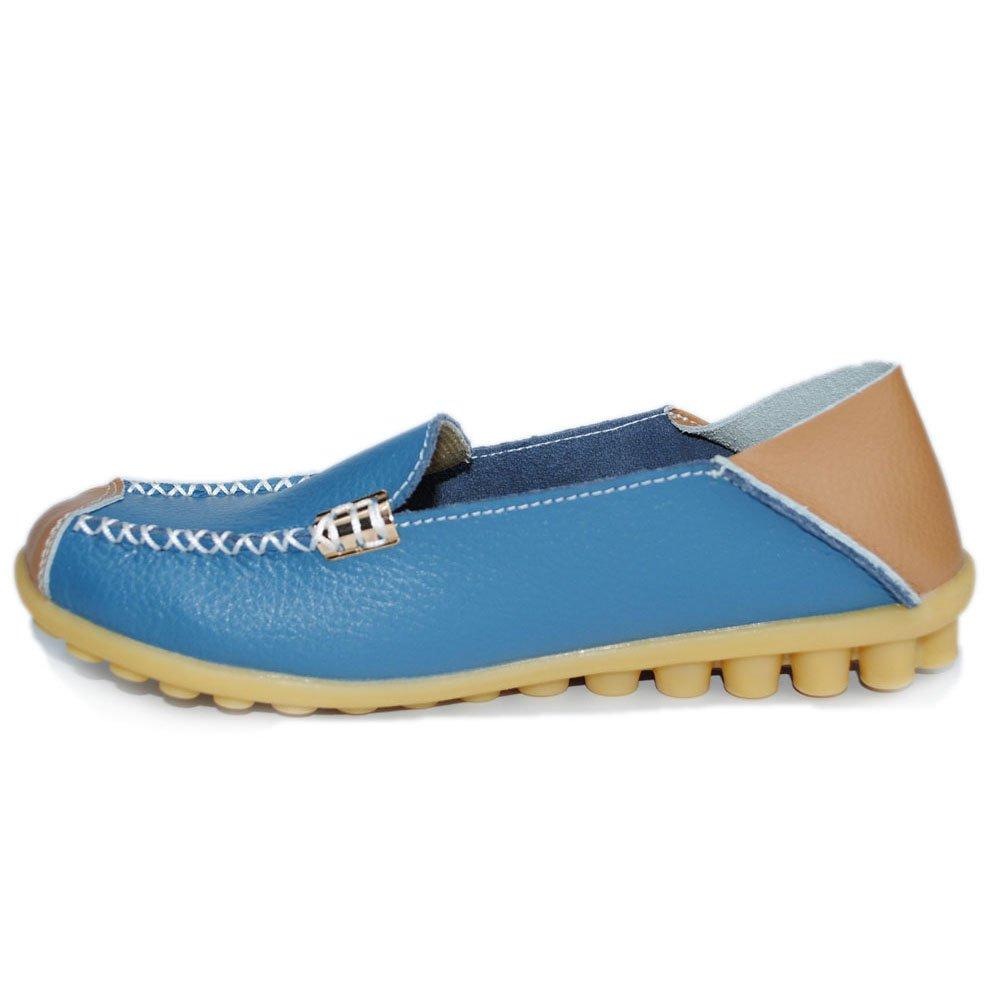 MXTGRUU Women's Leather Casual Slip-ONS Shoes B07D3MPWM3 8.5 B(M) US Light Blue