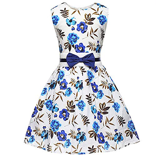 Fashion Girls Dress Rose Flower Double Bow Tie Party Sundress,Blue White Floral,9T/8-9 Years -