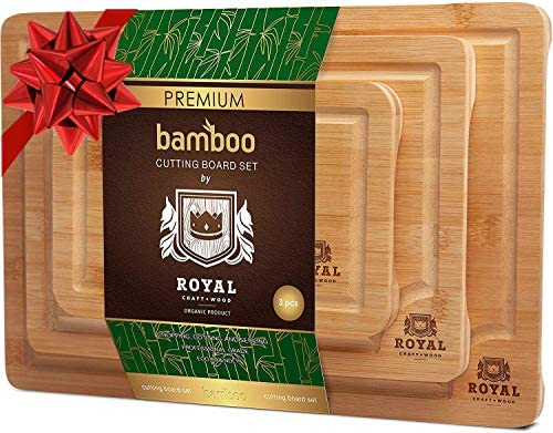 Organic Bamboo Cutting Board with Juice Groove (3-Piece Set) - Best Kitchen Chopping Board for Meat (Butcher Block) Cheese and Vegetables   Anti Microbial Heavy Duty Serving Tray w/Handles