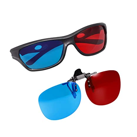 Classic Style Plastic Frames Anaglyph 3D Glasses Red and Cyan 5 Pairs