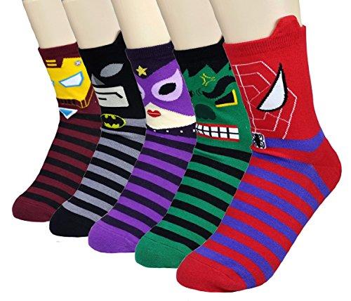 JJMax Women's Superheroes and Villains Cute Cartoon Hero Socks Set, Stripes and Ears 5 Pair, One Size