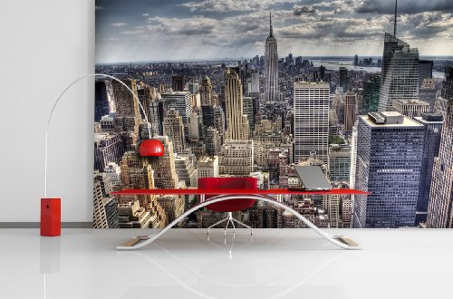 Fototapete Skyline of New York in verschiedenen Größen - als Papiertapete oder Vliestapete wählbar - PVC frei, geruchloser, umweltfreundlicher Latexdruck ohne Lösemittel - Motivtapete Postertapete Bildtapete Wall Mural von Trendwände