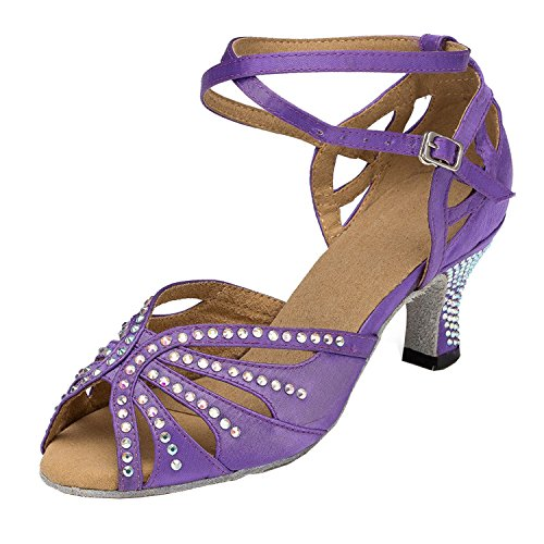 Dance Strap Ladies Wedding Ballroom TH162 Taogo Minitoo Cross Sandals Purple Latin Crystals Satin vZpwYx