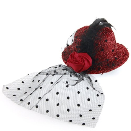 Feather Accent Rose Brim Textured Red Mini Top Fascinators Hat Hair Clip for Women (Mini Hat With Veil)