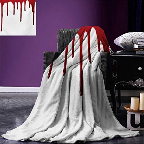 Anniutwo Horror Summer Blanket Flowing Blood Horror Spooky Halloween Zombie Crime Scary Help me Themed Illustration Beach Red White W50 x L30 inch