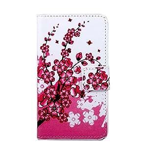 Para Samsung galaxy C5, Sunrive Funda Protectiva Carcasa Cuero Resistente Cierre Magnético,carcasa en folio, soporte plegable,ranuras para tarjetas (la flor del ciruelo) + 1 x Lápiz óptico