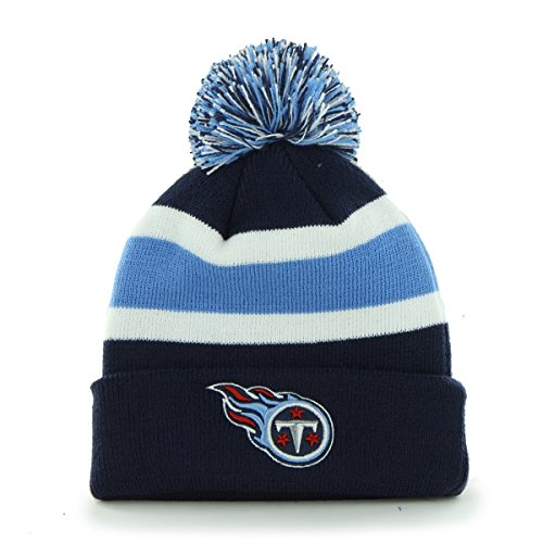 Cap Titans Tennessee Knit - NFL Tennessee Titans '47 Brand Breakaway Cuff Knit Hat with Pom, Light Navy, One Size