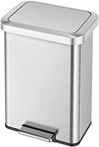 EKO Cozy 45 Liter/11.8 Gallon Step Trash Can, Fingerprint-Resistant Stainless Steel