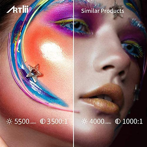 """Mini Projector - Artlii Enjoy 2 WiFi Bluetooth Projector, Native 720P, Supports Full HD 1080P, 5500L 300"""" Display, Compatible with Android, iPhone, Laptop, TV Stick, PS5"""