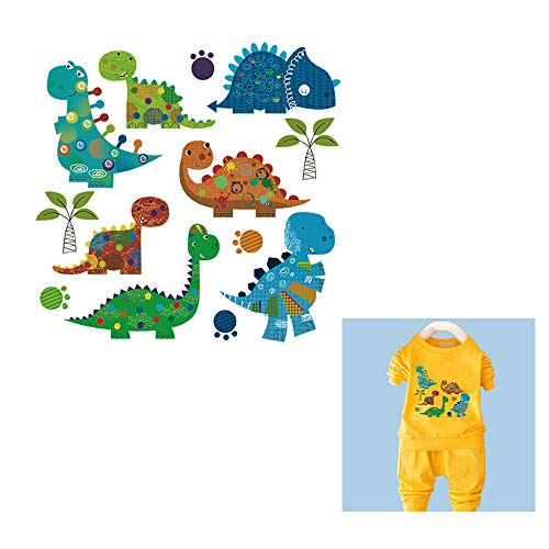 1sheet Cute Dinosaur Heat Transfer Pattern Iron on Patches Paste Kids T-Shirt DIY Accessory (Dinosaur)