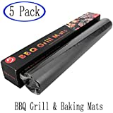 "DQS SHOP Grill Mat, Super Large Double-side 100% Non-stick and Heat Resistant BBQ Grill & Baking Mats, Set of 5, 13"" x 15.7"", Black"
