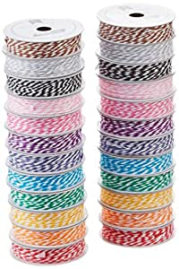 American Crafts Value Pack Baker's Twine, 5-Yard, 12-Bright Colors, 24-Pack