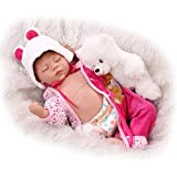 SanyDoll Reborn Baby Doll Soft Silicone 22inch 55cm Magnetic Lovely Lifelike Cute Lovely Baby Cute bear close eyes sleep doll