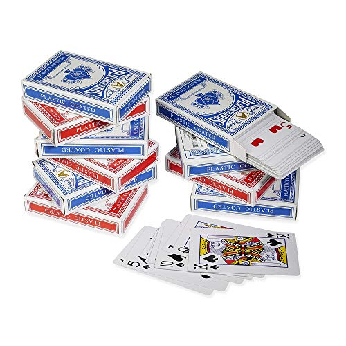 12 Decks Mini Playing Cards Set - Classic Poker Card Game - Bridge Size - Bulk Set of Twelve Blue and Red Packs Great for Family Night by ()
