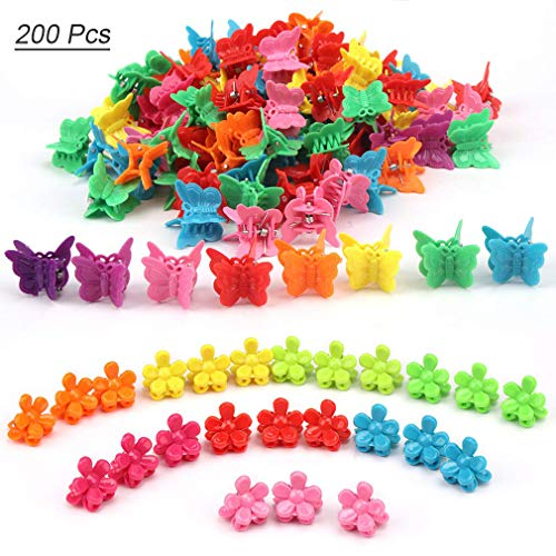 - TOBATOBA 200 Pieces Butterfly Clips Mini Hair Claw Clip Colorful Plastic Hair Barrettes Clips Butterfly and flower Shape Hair Claw Hair Pin Accessory for Women Teenager