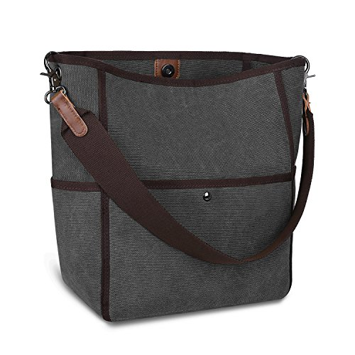 S-ZONE Women's Canvas Shoulder Bag Casual Handbag Tote Satchel Bucket Bag - Book Tote