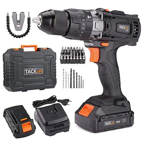 Cordless Drill, TACKLIFE 18v Electric Drill with Hammer, 2pcs 2.0A Li-Ion Batteries,...