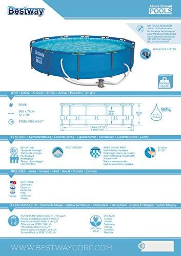 Bestway 56416 – Piscina Desmontable Tubular Steel Pro Max 366×76 cm Depuradora de Cartucho 1.249 litros/hora
