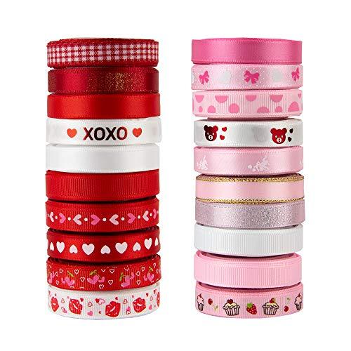 20 Rolls Valentine's Day Ribbons, 3/8 inch