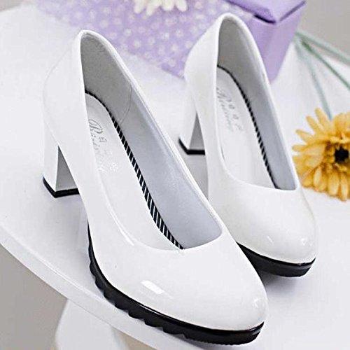 Xue Qiqi Cabeza del Alto Talón Zapatos con un único Profesional Zapatos Blancos con Zapatos de Mujer Negro Grueso Blanco