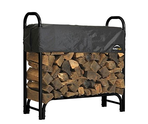 ShelterLogic Backyard Storage Series Covered Firewood Rack, Black, 4-Feet