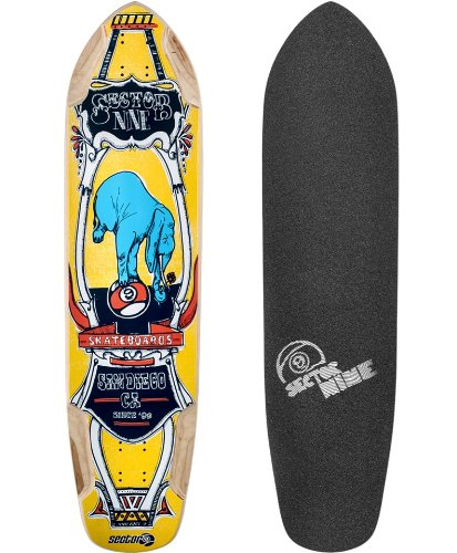 Circus Skateboard Deck - Sector 9 Mini Daisy Yellow Longboard Skateboard Deck With Grip Tape