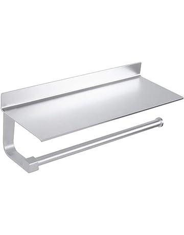 93d2daef8fa5 Wopeite Estantes Adhesivos Cocina Portarrollos baño de Papel de Cocina con  Estante para paños o Soporte