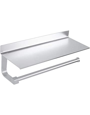 Wopeite Estantes Adhesivos Cocina Portarrollos baño de Papel de Cocina con Estante para paños o Soporte