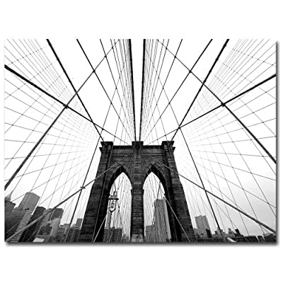 NYC, Brooklyn Bridge by Nina Papiorek, 24x32-Inch Canvas Wall Art - Artist: Nina Papiorek, Subject: Landscape Style: Contemporary, Product Type: Gallery-Wrapped Canvas Art, Made in USA Trademark Fine Art's compilation of artists is constantly evolving and growing to fit with the style trends in demand of the times with each of our pieces being selected to add the most sophisticated touch to any home décor. - wall-art, living-room-decor, living-room - 51hnoZQ%2BsHL. SS400  -