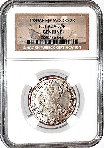 1783 MX 2 Reales MO FF El Cazador Shipwreck Coin,NGC Certified 2050136055 Real Fine NGC