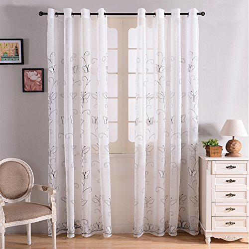 Top Finel Embroidered Butterfly Voile Window Curtain Sheer Panels For Living Room 76 Inch Width X 96 LengthGrommetsSingle PanelWhite