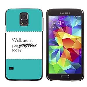 For SAMSUNG Galaxy S5 V / i9600 / SM-G900F / SM-G900M / SM-G900A / SM-G900T / SM-G900W8,S-type® Motivational Teal Text Poster - Arte & diseño plástico duro Fundas Cover Cubre Hard Case Cover