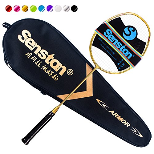 Single Graphite - Senston N80 Graphite Single High-Grade Badminton Racquet Professional Carbon Fiber Badminton Racket Carrying Bag Included Gold Color