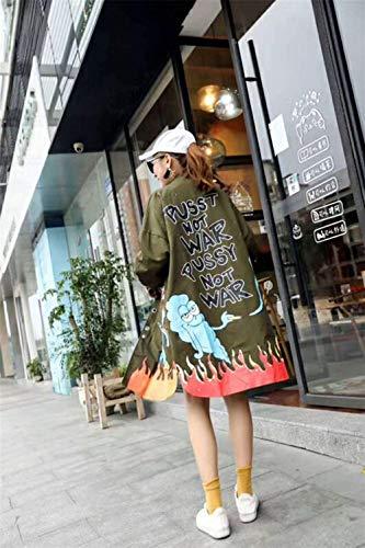 Giaccone Hx Cappotti Pulsante Graffiti Giubotto Con Donna Bavero Grün Manica Fashion Cerniera Windbreaker Confortevole Baggy Stampate Invernali Chic Lunga Ragazza qrqTAwF