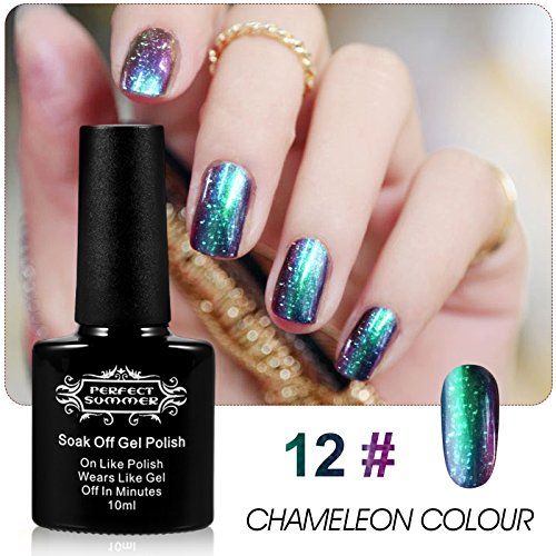 Perfect Summer Holographic Glitter Starry Galaxy Chameleon Colors Changes Gel Nails Polish Mood Changing French Manicure Lacquers UV Led Soak Off #12