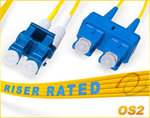 FiberCablesDirect - 30M OS2 LC SC Fiber Patch Cable | 10G Duplex 9/125 LC to SC Singlemode Jumper 30 Meter (98.42ft) | Length Options: 0.5-300M | 1g 10g sfp 10gbase lc/sc dplx yellow pvc ofnr sm-lc-sc ()
