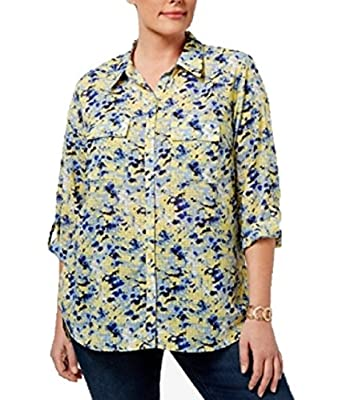 NY Collection Plus Size Printed Windowpane Blouse 2X