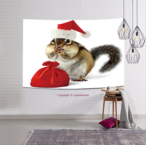 sophiehome-111966347 Chipmunk in red Santa Claus hat and bag with gifts on white background tapestry wall hanging magical thinking tapestry 10W x 8L Inches