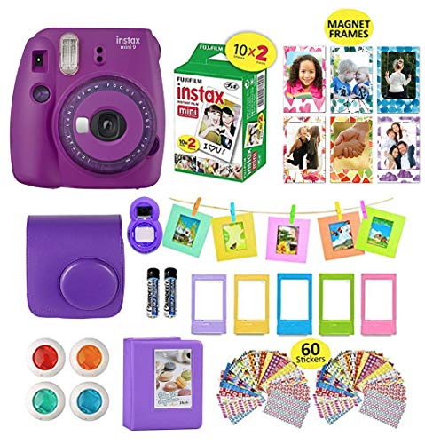 Fujifilm Instax Mini 9 Camera Purple + 20 Instant Fuji-Film Sheets, Instant Camera Case + 14 PC Instax Accessories Bundle, Fuji Mini 9 Kit Gift, 2 Albums, Lenses, 6 Magnet Frames+ 60 Stickers