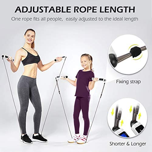 MOVTOTOP Jump Rope, Digital Smart Counting Speed Skipping Ropes with Calorie & Weight Counter and Alarm Reminder, Adjustable Tangle-Free Jump Ropes for Fitness, Crossfit, Exercise, Workout, MMA, Gym 5